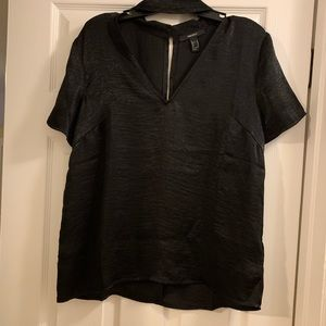 Satin Feel V Neck Cut Out Tee
